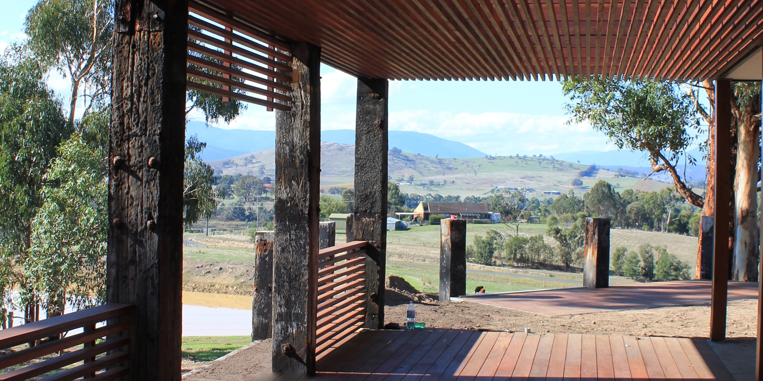 Yarra Glen Project - Spotted Gum Outside Entertainment with stunning views
